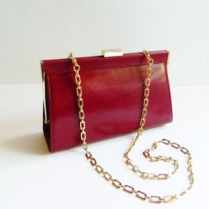 Red Monsac Leather Handbag